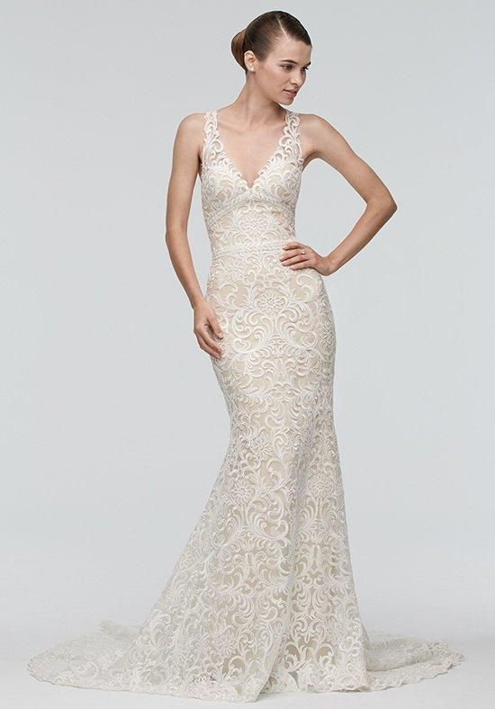 Watters Brides mermaid styled gown with V-neckline and embellished lace I Style: Georgia 9010B I https://www.theknot.com/fashion/georgia-9010b-watters-brides-wedding-dress?utm_source=pinterest.com&utm_medium=social&utm_content=july2016&utm_campaign=beauty-fashion&utm_simplereach=?sr_share=pinterest