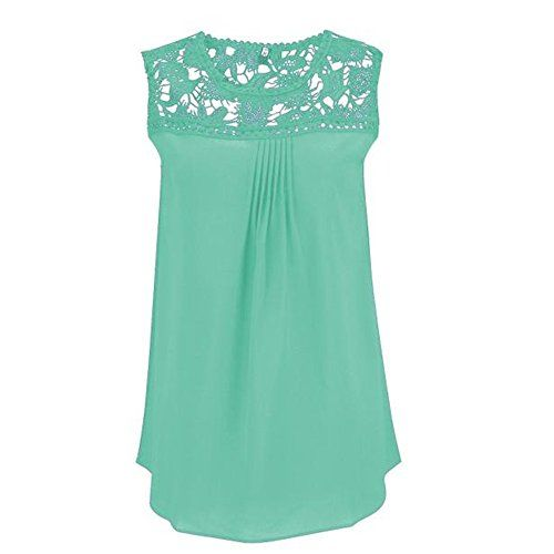 """Lace Tops, Milazer Women Summer Lace Splice Chiffon Vest Top Sleeveless Blouse Tank Tops (XXL, Green)  Special Offer: $5.39  411 Reviews Package include: 1PC T-Shirt Size Details: Size:S Bust:88cm/34.6"""" Shoulder:33cm/13.0"""" Length:64cm/25.2"""" Size:M..."""