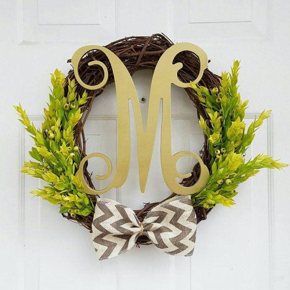 Monogram Grapevine Wreath  Front Door Wreath  by BeWreathedNYC