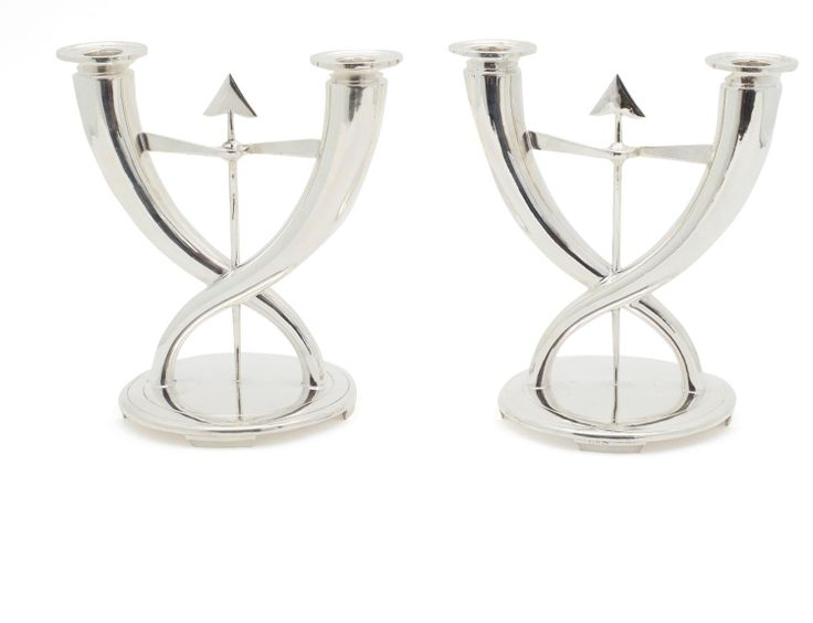 a pair of christofle silver plate candlesticks designed by gio ponti circa 1925 silvered. Black Bedroom Furniture Sets. Home Design Ideas