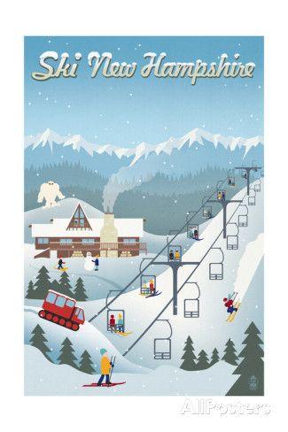 New Hampshire - Retro Ski Resort Prints by Lantern Press at AllPosters.com