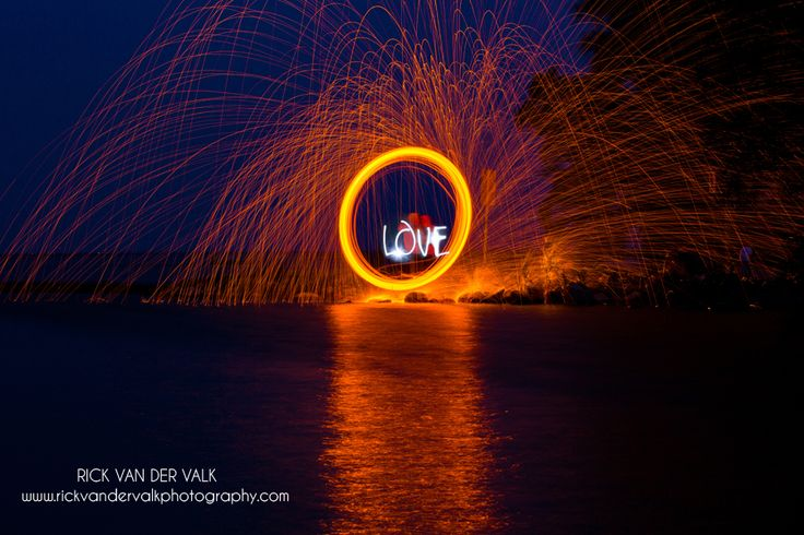Steel Wool shot with light painting during a fun engagement shoot near Barrie Ontario