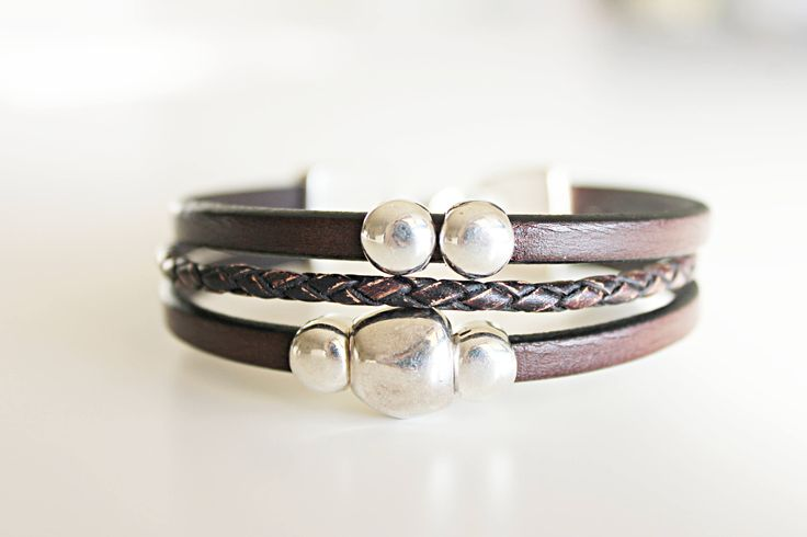 MENS LEATHER BRACELET.  Men bracelet. Cheap jewelry, brown wristband, uno de 50 style, genuine  leather, beaded bracelet. Gift idea. Varón by kalmabisuteria on Etsy