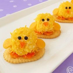 Turn tiny cheese balls into adorable chicks to serve for Easter dinner.