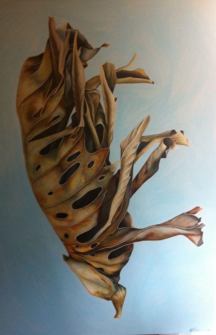 Elephants Ear, acrylic on canvas 100cm x 1500cm by Tara Green