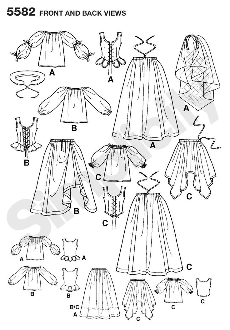 Womens Renaissance Dress Costume Sewing Pattern 5582 Simplicity