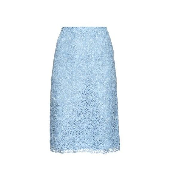 Nina Ricci Macramé-lace pencil skirt (£775) ❤ liked on Polyvore featuring skirts, light blue, lace skirt, below knee pencil skirt, blue pencil skirt, blue lace skirt and lacy skirt