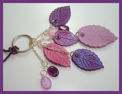 Beadazzle Me Polymer Jewelry: Polymer Clay Dangling Leaves Necklace
