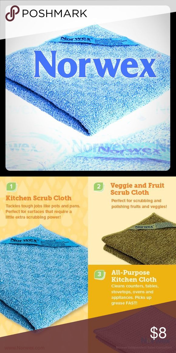 Norwex kitchen scrub cloth WWith so many different coatings and surfaces available today, there is a need for a cloth that will also scrub without scratching. The Norwex Kitchen Scrub Cloth not only scrubs without scratching, it removes and holds the broken-down grime in its microfibers.  Use it for scrubbing and wiping:  Pots & Pans (safe on Teflon®) Kitchen sinks Kitchen counters Back splashes Tiled walls Bathroom vanities Bathtubs Showers norwex Shoes