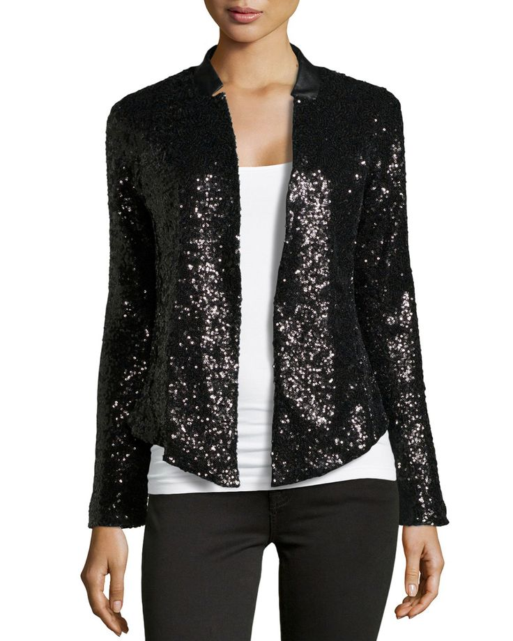 This Ella Moss Faux leather collar sequin blazer is fabulous! This jacket would make such a perfect holiday outfit...