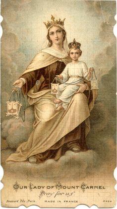 Santa María del Monte Carmelo,  Virgen del Carmen o Nuestra Señora del Carmen. Our Lady of Mount Carmel. Festividad 16 de Julio y patrona de los marineros.