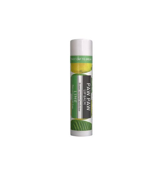 Paw Paw Lip Balm - Lime- Paw Paw Lip Balm's natural formula is rich in Paw Paw with the added nourishment of Shea Butter, Honey, Vitamin E & Almond Oil with a hint of delicious Lime. Moisturise and protect lips, leaving them luxuriously soft. The petrochemical-free formula is gentle on sensitive lips and is ideal to use by itself.