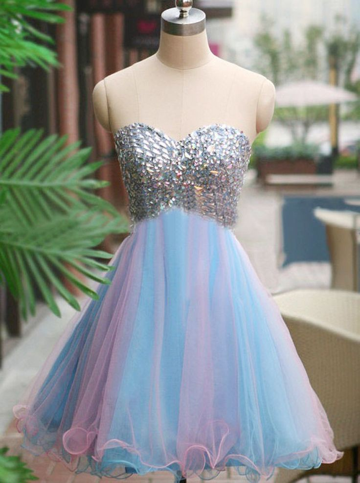 Sweetheart Homecoming Gowns,Short Blue Homecoming Dresses.A-lineTulle Homecoming…