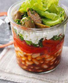 Lunch im Glas - Paprika-Bohnen-Salat mit Feta