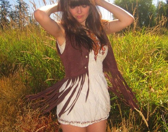 60's/70's brown suede boho almost famous fringed vest. $45.00, via Etsy. In Size Medium!