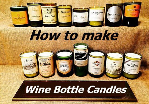 How to Make Wine Bottle Candles. Some of the really easy wine bottle crafts include a lamp, a votive candle holder, a wind chime and a vase. If you feel really up to the challenge you could also make a beautiful chandelier out of your collection of bottles. DIY Wine Bottle Candles. http://www.coffeenwine.com/diy-wine-bottle-candles/