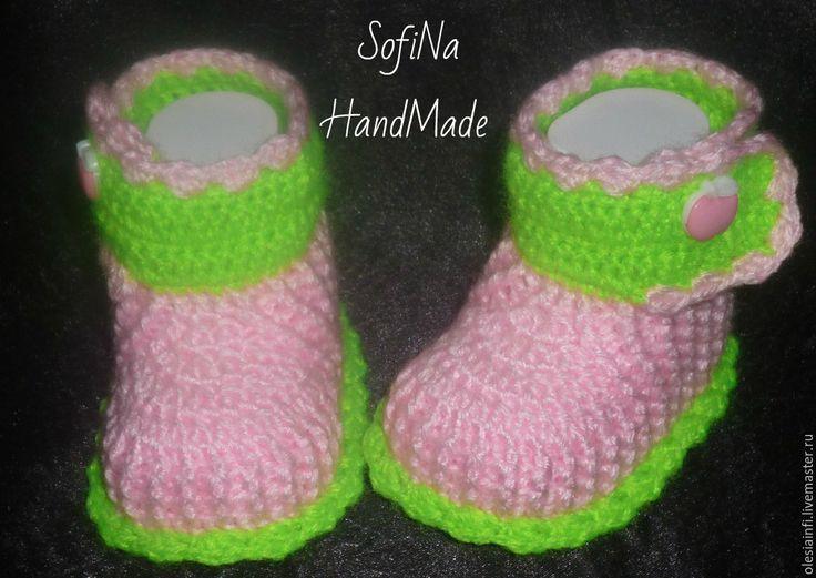 Купить Яркие сапожки для девочки, пинетки для новорожденной - комбинированный, пинетки, Сапожки, яркие пинетки