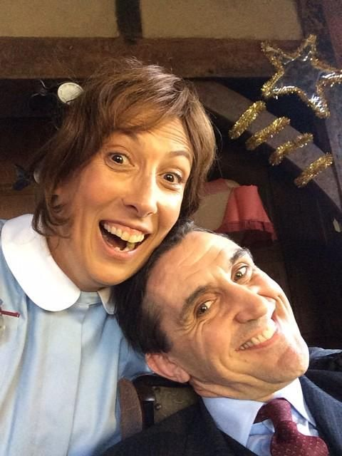 Filming continues on our #CallTheMidwife Christmas special. Here's Miranda Hart on set today with Stephen McGann (dated Monday 11/08/14)