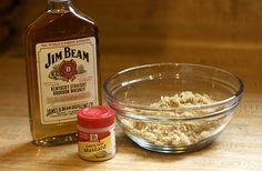 RECIPE: BOURBON BROWN SUGAR GLAZED HAM  INGREDIENTS  3/4 to 1 1/2 C Bourbon  1 Tbsp ground mustard  2 C dark brown sugar  INSTRUCTIONS  Your oven temp. will depend on your ham, boneless, bone-in etc.. follow the directions on your ham package.  Place your ham fat side up on a rack in a roasting pan. Lightly score the fat about 1 inch apart.. pour 3/4 C bourbon whiskey over ham and pour 1 C water in the bottom of the roasting pan.  Cover tightly with foil or a roasting pan lid and bake ham…