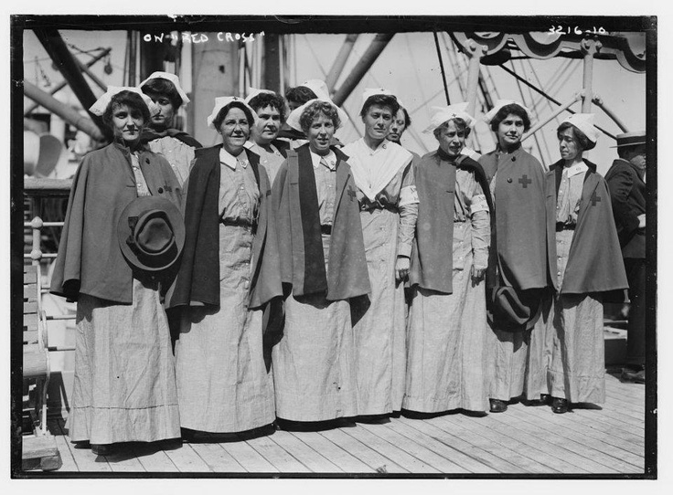 Nurses aboard the Red Cross ship bound for Europe in mid September 1914 at the beginning of World War I