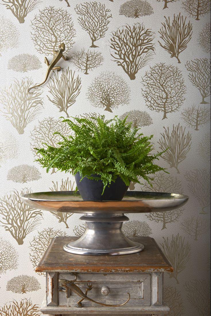 Home diy wallpaper illustration arthouse imagine fern plum motif vinyl - A Classic Sea Fern Coral Motif Wallpaper Design With Touches Of Metallic