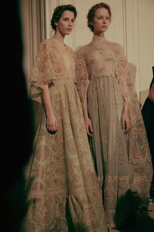 Left, Yana Van Ginneken (Next), right, Grace Simmons (Next) backstage at Valentino Haute Couture SS15
