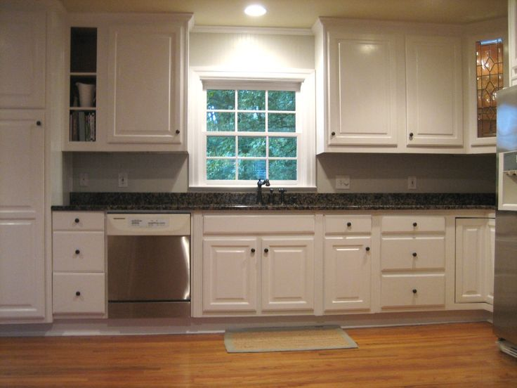 Marvelous Gray Wall Painted With White Cabinet Remodelling To Gray Kitchen  Cabinets As Well As Black Countertops With Wooden Flooring Designs In White  ...