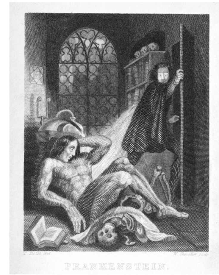 "I find this illustration to be fascinating. The creature, Frankenstein's creation, bares a human resemblance in this artistic depiction. This illustration appears to be a from a Frankenstein  book cover. I am really looking forward to reading Frankenstein.  Note this comment from the an online source cited below. ""Frontispiece from Mary Shelley, Frankenstein, or The Modern Prometheus (London, 1831). 1153.a.9.""  http://blogs.bl.uk/european/2015/11/mechanics-not-magic.html"