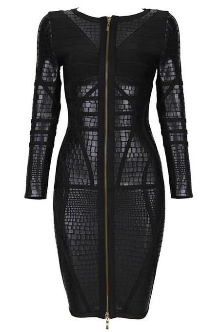GO's Black Luxury Zipper Bandage Dress