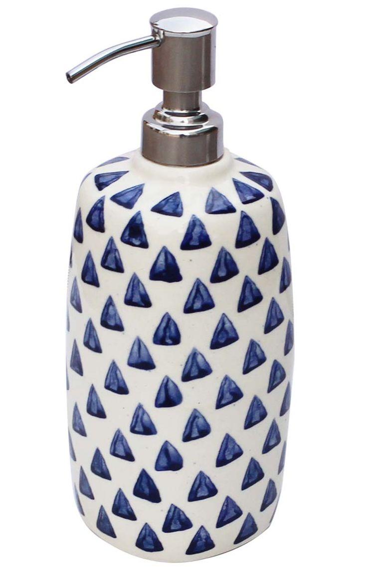 Bulk Wholesale Ceramic Soap Dispenser – Hand-Painted Blue Pyramids on Cream-White – Kitchen Sink / Bathroom Accessories