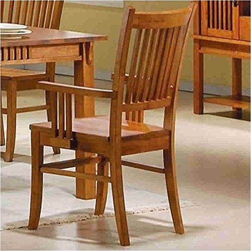 Mission style #dining set made of solid hardwood in a medium brown finish.