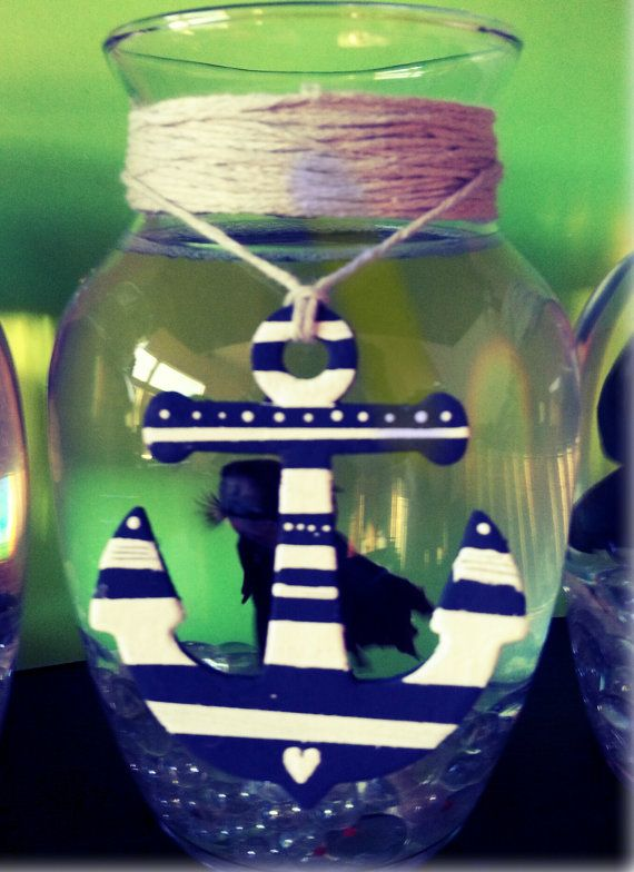 Nautical Anchor Hand Painted Wood Favor Topper Embelishment beach wedding nautical favors