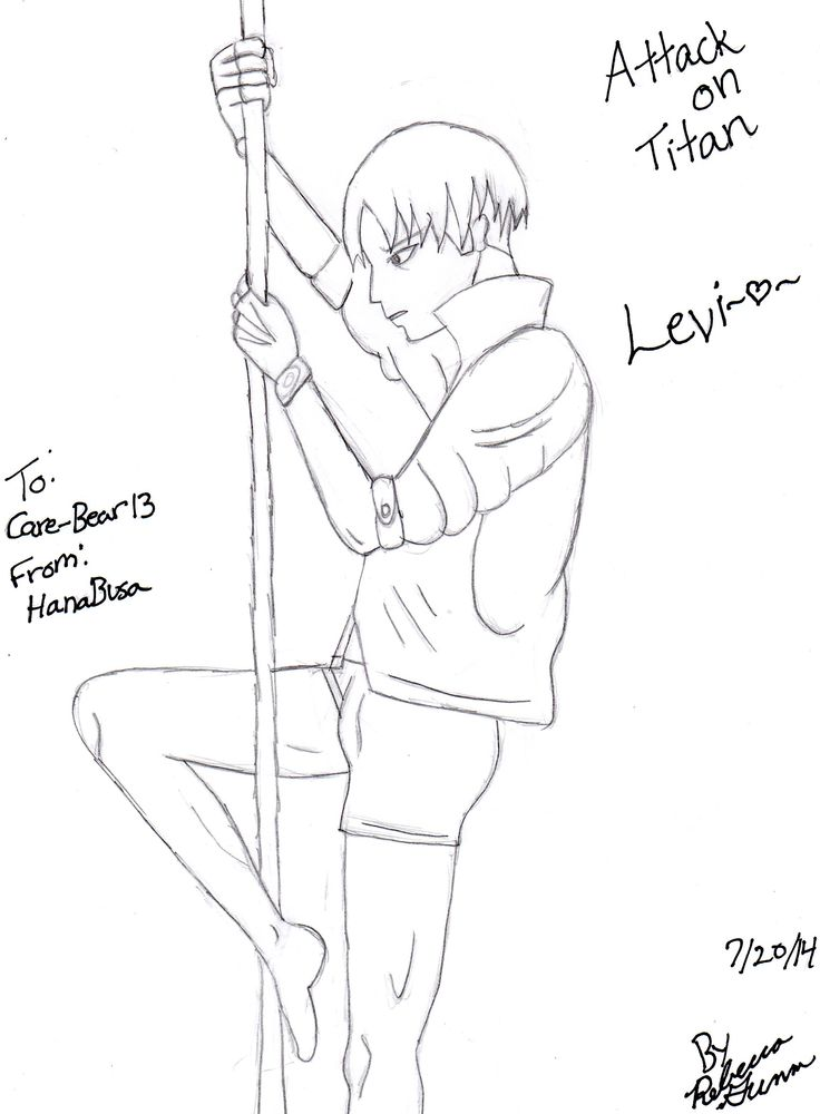 This a picture of Levi on a pole that I drew for my friend! X3