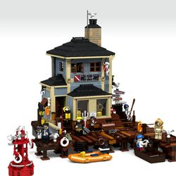 The Dive Shop My story For this modular (creator) building was that the The Dive Shop is based for a creation to fit in the Sea front Village. I built this one on Lego Digital Designer (LDD). I really believe that this model could have a lot of genuine interest for fans of my Sea front Village sets. This is my fourth of Sea front Village building that I will be submitting. Summary Centrally located in the Sea Front Village Marina.The Dive Shop proudly offers an unparalleled inventory…