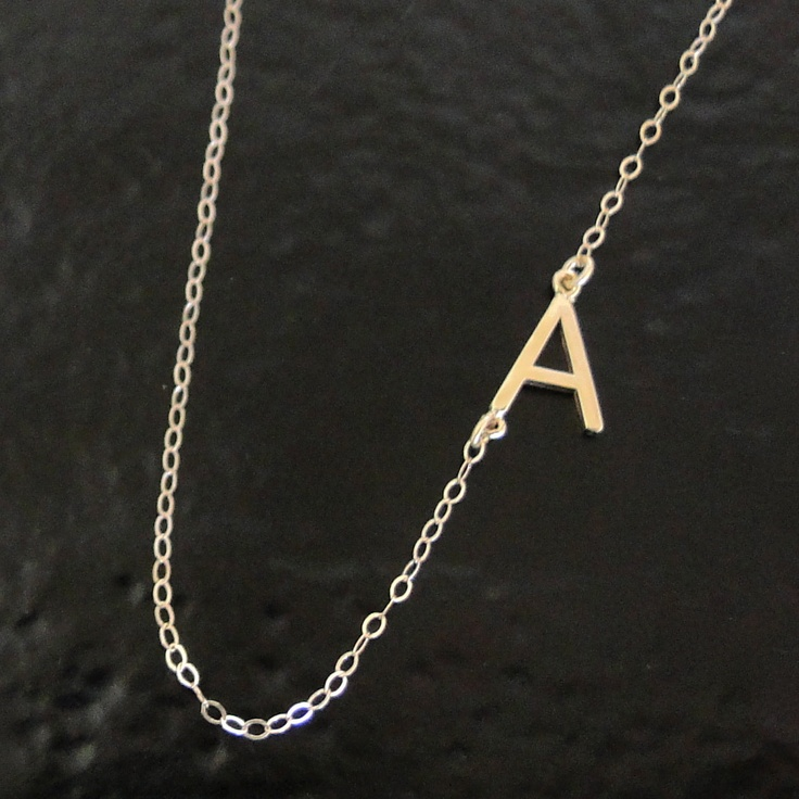 Sideways Initial Necklace - 14K SOLID GOLD, Your  Initial, Asymmetrical Necklace As Seen on Audrina Patridge. $149.00, via Etsy.