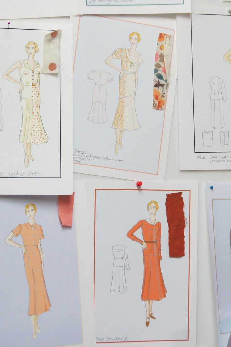 Daywear dress sketches from Indian Summers Costume Designer Nic Ede | Courtesy of Rebecca Eaton for MASTERPIECE