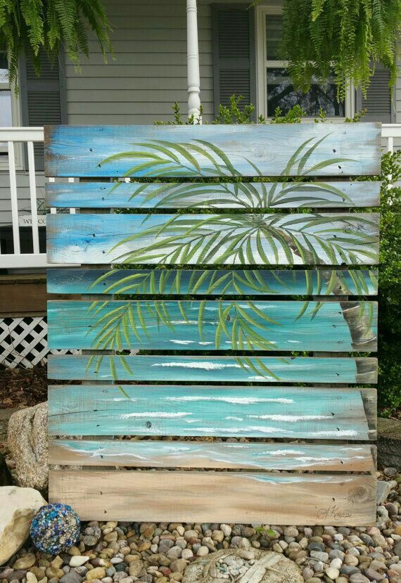 Wood Pallet Art, BEACH greenery, Hand painted, Seascape horizon, oceanscape, upcycled Distressed, Palm tree, repurposed fence : thewhitebirchstudio - etsy