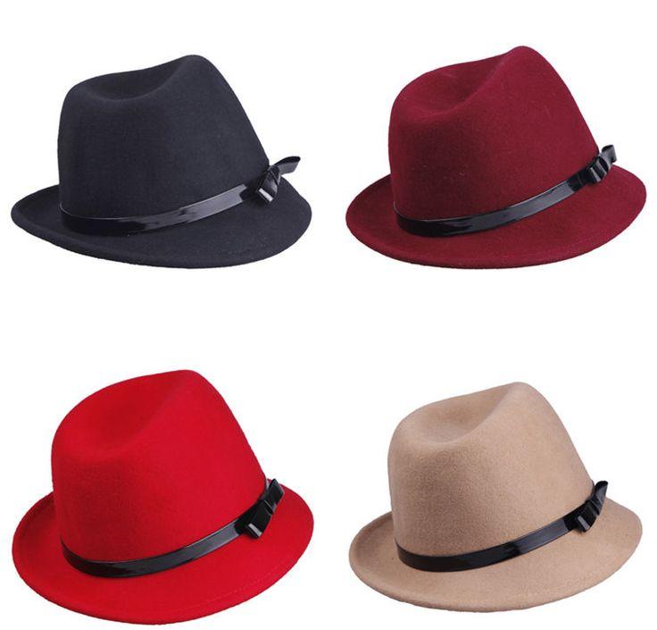 4Color Womens Mens Trilby Headwear Summer Beach Belt Wool Hat Sunhat Jazz Cap