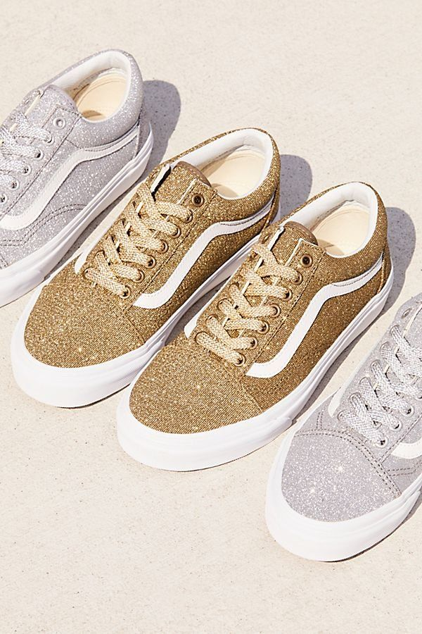 Old Skool Lux Glitter Sneaker - Vans Gold and Silver Glitter Lace Up  Sneakers - Silver Sparkly Sneakers - Gold Sparkly Sneakers 7ec3505e282f