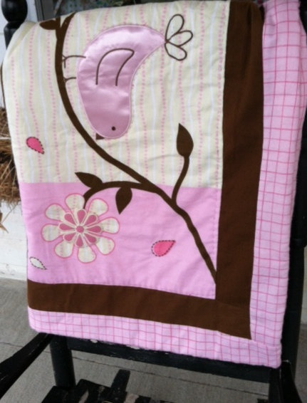 A pink green and brown appliqued baby quilt by LincolnsGranny, $32.95