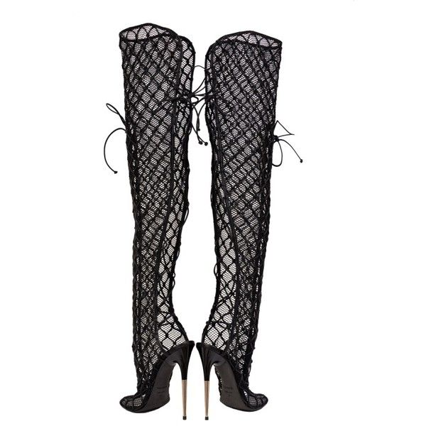 NEW TOM FORD ULTRA RARE FISHNET OVER THE KNEE BOOTS (£3,945) ❤ liked on Polyvore featuring shoes, boots, heels, above-knee boots, black over-the-knee boots, black heeled boots, over knee boots and black thigh-high boots