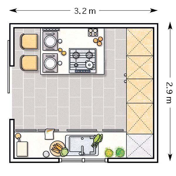 Plano de cocina en forma de U con barra