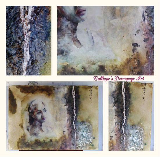 Καμβάς με μεικτές τεχνικές (Mixed media) | Calliope's Decoupage Art