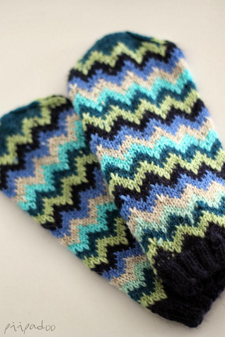 Colourful chevron mittens