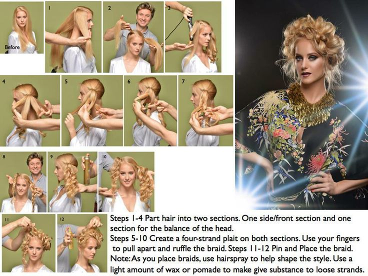 Get Inspired! Share with friends! #Step-by-Step #How-To Ruslan Tatyanin creates a gorgeous and easy-to-do braided updo. Click on the image to enlarge for easy viewing.