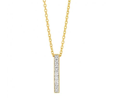 9ct Yellow Gold 0.17ct TDW Bar Pendant-excludes chain
