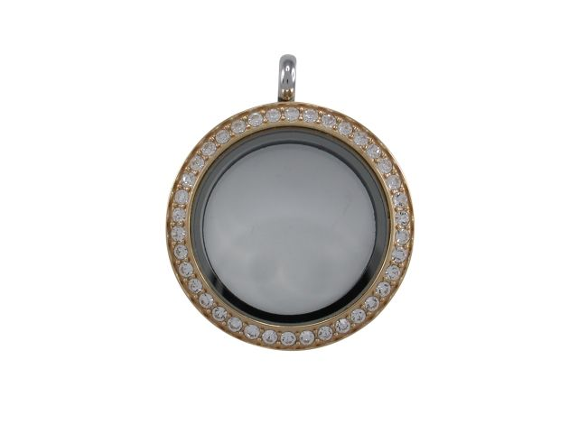 Stainless Steel & Gold Ip Plated (one Side) 25mm Glass Crystal Set Butterfly Memories Locket Pendant