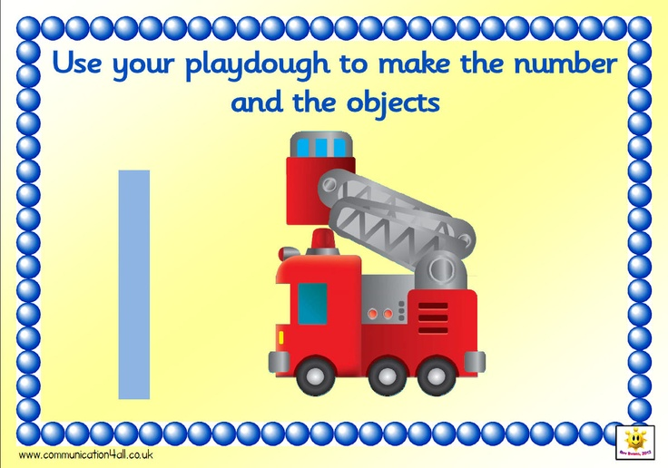Set of A4 mats. Pupils create the number shape out of playdough and then the correct number of vehicles, 1-10. Numbers are Sassoon formation except for 1 - which shows a straight line (less confusing than having the stroke at the top)