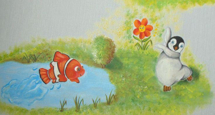 Vi ricordate di Nemo, il pesciolino, e Mambo il pinguino ballerino? Eccoli qui che si divertono insieme Work in progress tende dipinte a mano https://www.facebook.com/ideeinatelier/posts/1711743739096097