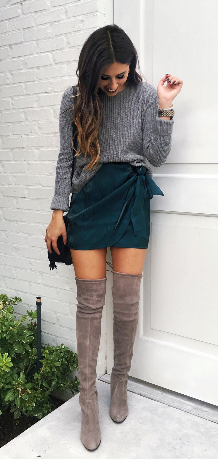 #fall #outfits women's gray sweatshirt. Click To Shop This Look.